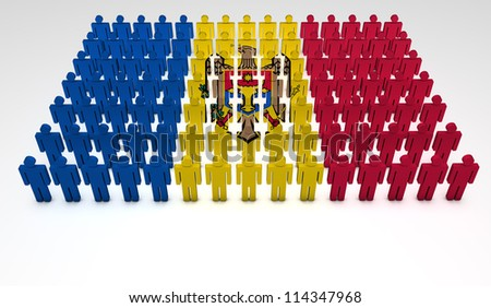 Parade of 3d people forming a top view of Moldovan flag. With copyspace.