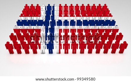 Parade of 3d people forming a top view of Norwegian flag. With copyspace. - stock photo