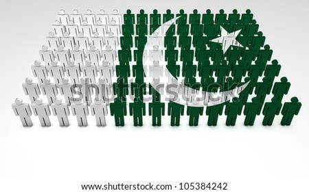 Parade of 3d people forming a top view of Pakistan flag. With copyspace.