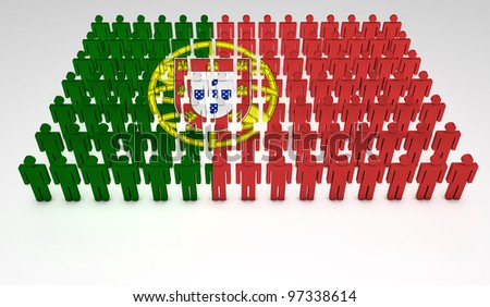 Parade of 3d people forming a top view of Portugal flag. With copyspace.