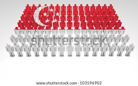 Parade of 3d people forming a top view of Singaporean flag. With copyspace.