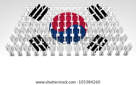 Parade of 3d people forming a top view of South Korea flag. With copyspace.