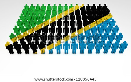 Parade of 3d people forming a top view of Tanzania flag. With copyspace.