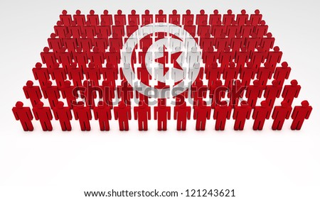 Parade of 3d people forming a top view of Tunisia flag. With copyspace.