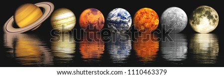 parade planets, planets in a row, 3D rendering