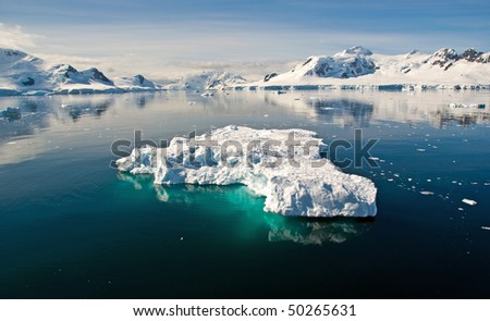 Paradise Bay with floating iceberg, Antarctica