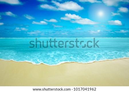 Paradise beach and elegant sea wave and sunny sky