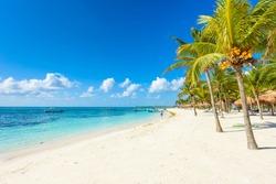 Paradise beach at caribbean coast of Mexico - Quintana Roo, Cancun - Riviera Maya