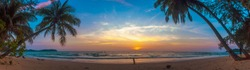 Paradise beach sunset landscape with tropical palm trees silhouettes. Summer travel vacation getaway colorful concept photo from sea ocean water