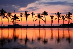 Paradise beach sunset or sunrise with tropical palm trees. Summer travel holidays vacation getaway colorful concept photo from sea ocean water at Big Island, Hawaii, USA.