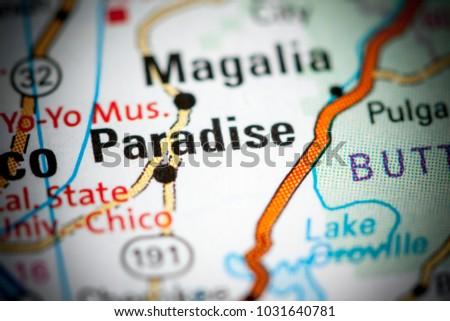 Paradise. California. USA on a map.