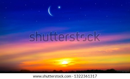 Paradise heaven . Red sunset and moon . Ramadan background . Half moon and star . Beautiful star . Sunset and new moon . Beautiful sky #1322361317