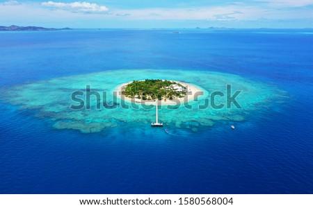 Paradise Island. Aerial View of beautiful Mala Mala Island, Fiji, Pacific Ocean. Drone shot. Stock photo ©