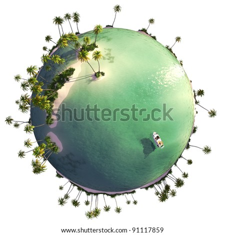 Paradise island globe as concept for quiet exotic travel getaway isolated on white