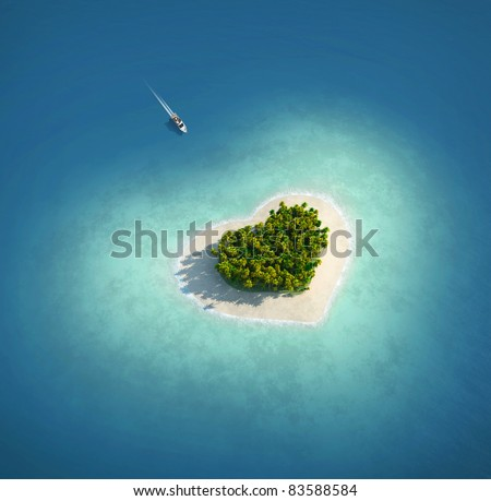 Paradise Island in the form of heart - stock photo