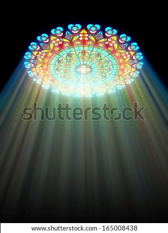 paradise light passes through the glass of church