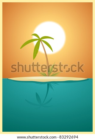 Paradise Tropical Island Illustration of a designed heavenly simple tropical island for your vacations