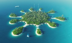 Paradise tropical island in the form of a star. 3D rendering image