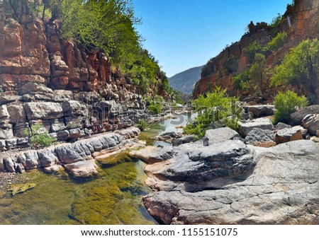 Paradise Valley, a magnificent section of the Tamraght River valley in the Moroccan High Atlas mountains near Agadir city, Morocco