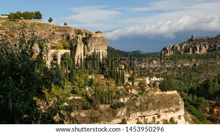 Parador in the old Convent of St Paul in town of Cuenca in Castilla-La Mancha, Spain, Europe, is World heritage by Unesco                               #1453950296