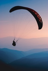 Paraglide in a Carpathian mountains
