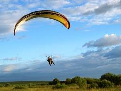 Paraglider final approach before landing