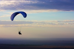 Paraglider flight in Crimea, Ukraine