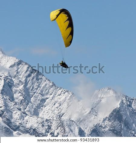 Paraglider near peak Lhotse (8516 m) - Chhukhung, Nepal, Himalaya