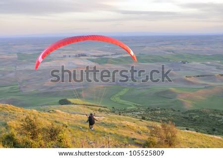 Paraglider Preparing for Take-off