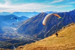 Paragliding above Chamonix Mont Blanc, France