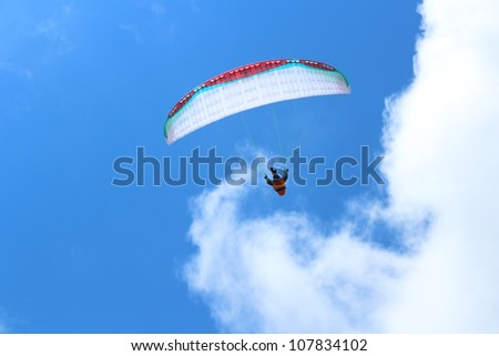Paragliding in Davos, Switzerland, against clear blue sky