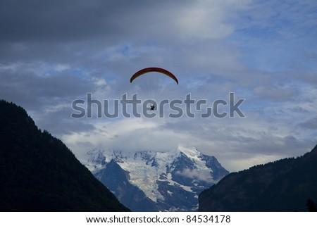 Paragliding in Interlaken sky, Switzerland
