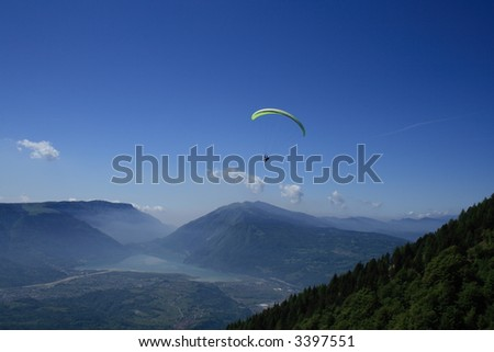 Paragliding in the Dolomites at the Lago di St.Croce, Italy