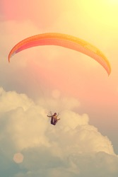 Paragliding in the sky