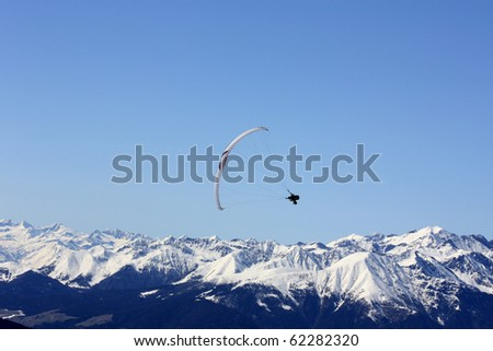 Paragliding. Paragliding in the Dolomites, view from Plan de Corones