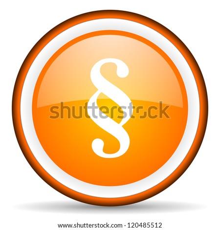 paragraph orange glossy circle icon on white background