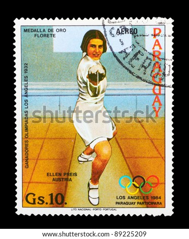 PARAGUAY - CIRCA 1983: A stamp printed by PARAGUAY shows fencing. LOS ANGELES OLYMPIC GAMES 1984 series, circa 1983