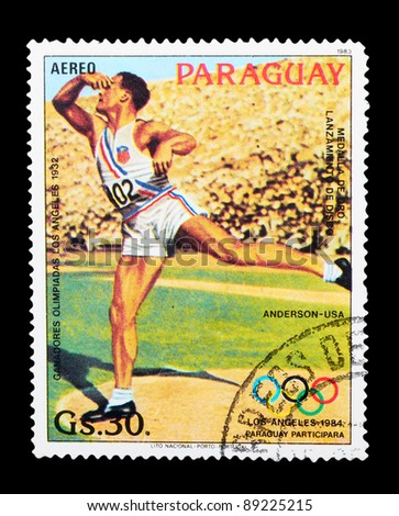 PARAGUAY - CIRCA 1983: A stamp printed by PARAGUAY shows the discus. LOS ANGELES OLYMPIC GAMES 1984 series, circa 1983