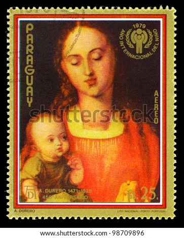 PARAGUAY- CIRCA 1979: A stamp printed in Paraguay shows Madonna and Child paintings by A.Durero, circa 1979