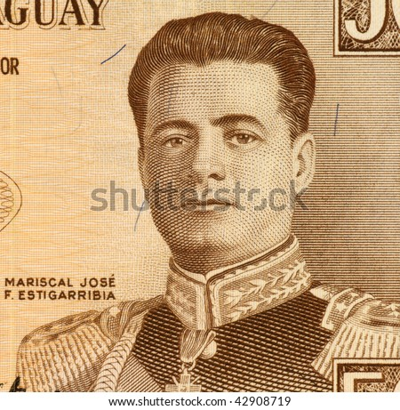 PARAGUAY - CIRCA 1963: Mariscal Jose F. Estigarribia on 50 Guarani 1963 Banknote from Paraguay.