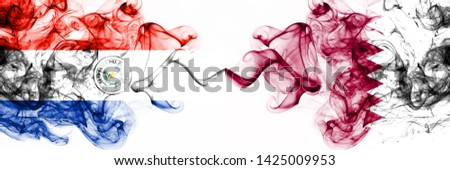 Paraguay, Paraguayan, Qatar, Qatari, flip, competition thick colorful smoky flags. America football group stage qualifications match games #1425009953