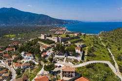 Paralio Astros cityscape, view from drone, Arcadia, Greece