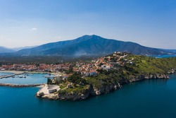 Paralio Astros port, view from drone, Arcadia, Greece
