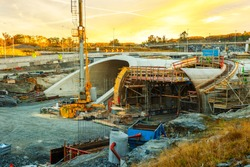 Parallel highway tunnels under construction in Stavanger, Norway.