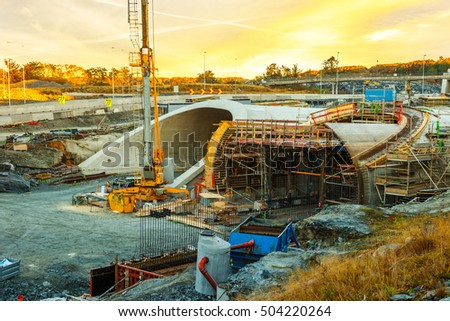 Parallel highway tunnels under construction in Stavanger, Norway. stock photo