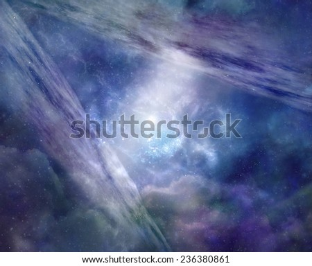 Parallel Universe - Blue background deep space showing two galaxy planes opposite each other, connected by a stream of light