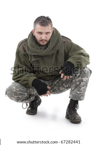 Paramilitary soldier isolated in white background