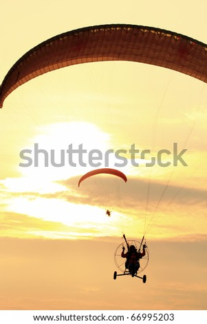 Paramotor Silhouette at sunset