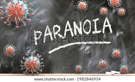 Paranoia and covid virus - pandemic turmoil and Paranoia pictured as corona viruses attacking a school blackboard with a written word Paranoia, 3d illustration Foto stock ©