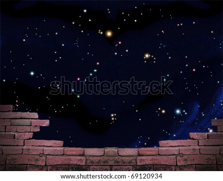Parapet with beautiful stars of outerspace in darkness sky including 25 constellations such as Aquila, Cancer, Draco, Hercules, Hydra, Leo, Libra, Sagitta, Scutum, Serpens, Ursa, Virgo, Vulpecula etc.